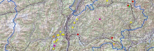 Mappa delle scritte dei pastori in Trentino