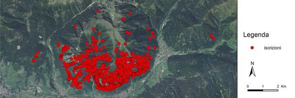Mappa delle scritte dei pastori sul Monte Cornon - Trentino